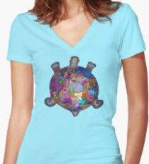 Turtle Tattoo Women's Fitted V-Neck T-Shirt