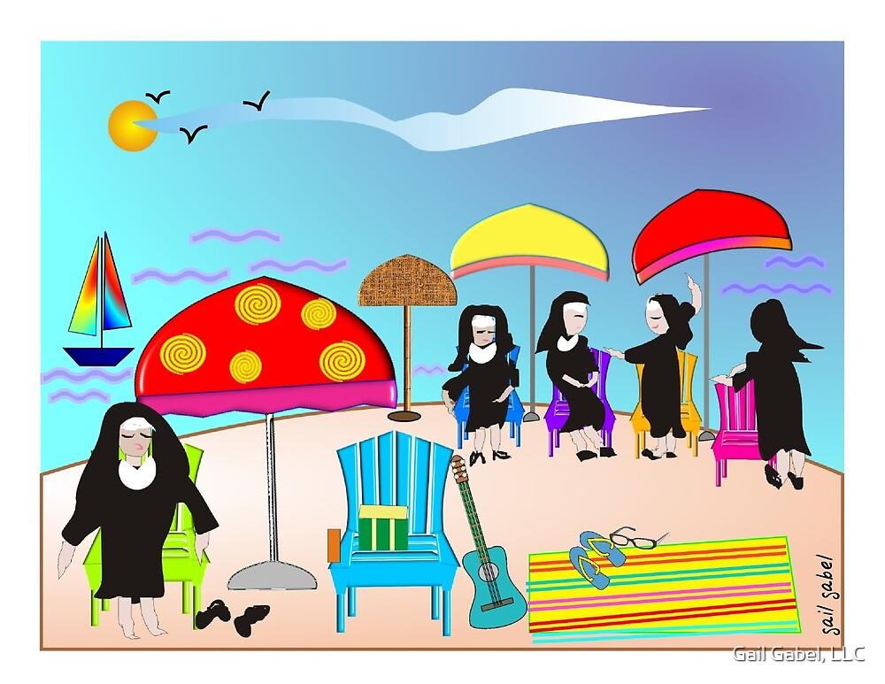 """Whimsical Nun Art  """"At The Beach"""" by Gail Gabel, LLC"""