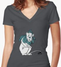 Cowardly Lion Illustration Women's Fitted V-Neck T-Shirt