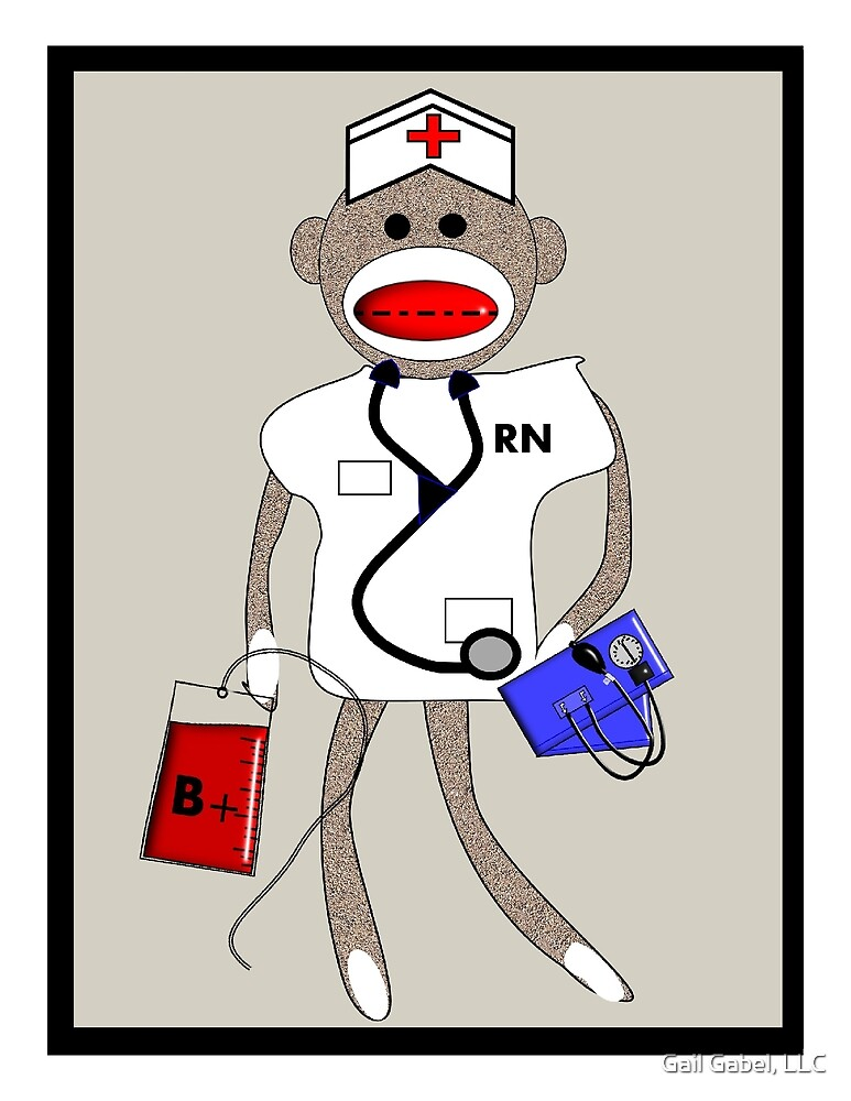 Sock Monkey Nurse by Gail Gabel, LLC