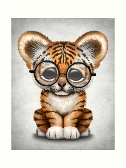 Cute Baby Tiger Cub Wearing Glasses By Jeff Bartels