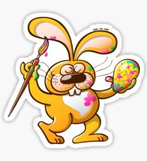 Easter Bunny Painting an Egg Sticker