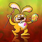 Easter Bunny Painting an Egg by Zoo-co