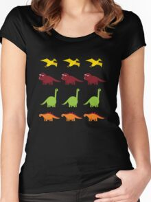 Cute Dinosaurs Women's Fitted Scoop T-Shirt