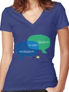 Share Salam (English) Women's Fitted V-Neck T-Shirt