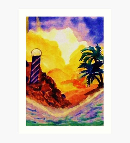 Brightday at the lighthouse, watercolor Art Print