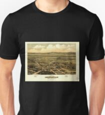 Panoramic Maps Bird's eye view of Jacksonville and the Rogue River Valley Oregon 1883 Unisex T-Shirt