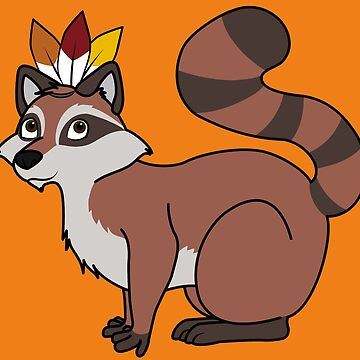 Thanksgiving Red Raccoon with Indian Headdress by Grifynne
