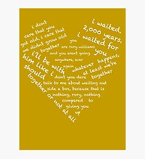 Quotes of the Heart - Amy/Rory (White) Photographic Print