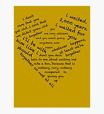Quotes of the Heart - Amy/Rory (Black) Photographic Print