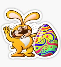 Easter Bunny Proud of his Big Decorated Egg Sticker