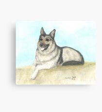 German Shepherd Dog Animal Art Peek Pets Canvas Print