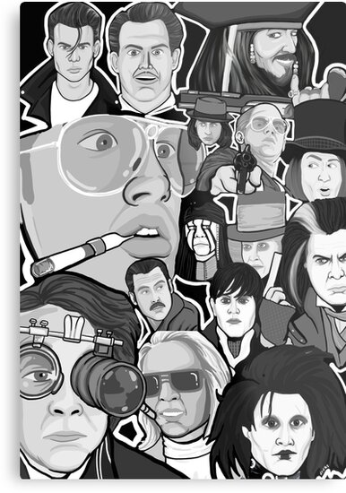 Johnny Depp Character Collage Metal Prints By Gjnilespop Redbubble