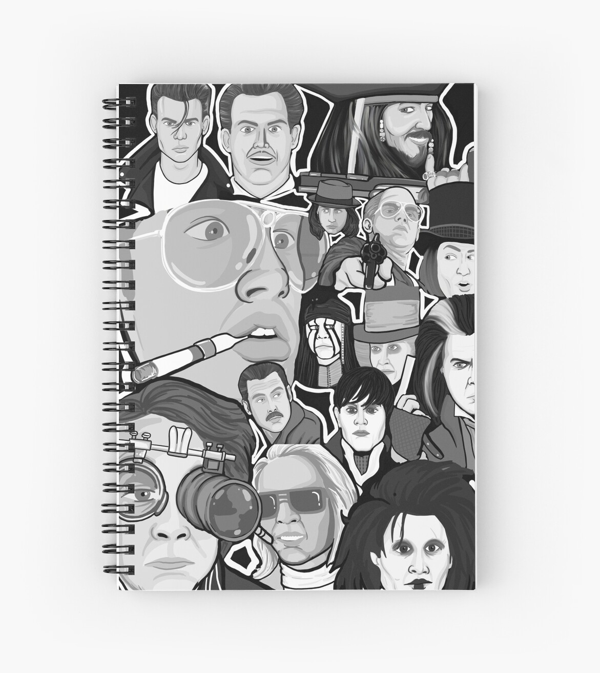 Johnny Depp Character Collage Spiral Notebooks By Gjnilespop