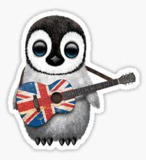 Baby Penguin Playing British Flag Guitar Sticker