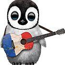 Baby-Pinguin, der französische Flaggen-Gitarre spielt von jeff bartels