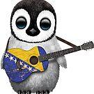 Baby-Pinguin, der Bosnien-Herzegowina-Flaggen-Gitarre spielt von jeff bartels