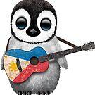 Baby-Pinguin, der philippinische Flaggen-Gitarre spielt von jeff bartels
