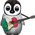 Baby-Pinguin, der mexikanische Flaggen-Gitarre spielt von jeff bartels