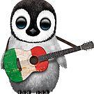 Baby-Pinguin, der italienische Flaggen-Gitarre spielt von jeff bartels
