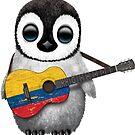 Baby-Pinguin, der kolumbianische Flaggen-Gitarre spielt von jeff bartels
