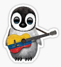 Baby Penguin Playing Colombian Flag Guitar Sticker