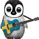Baby-Pinguin, der schwedische Flaggen-Gitarre spielt von jeff bartels