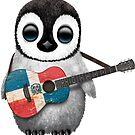 Baby-Pinguin, der Dominikanische Republik-Flaggen-Gitarre spielt von jeff bartels