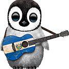 Baby-Pinguin, der El Salvador Flaggitarre spielt von jeff bartels