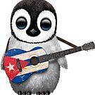 Baby-Pinguin, der kubanische Flaggen-Gitarre spielt von jeff bartels