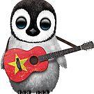 Baby Penguin Playing Vietnamese Flag Guitar von jeff bartels