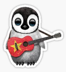 Baby Penguin Playing Vietnamese Flag Guitar Sticker