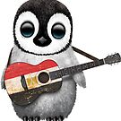 Baby Penguin Playing Egyptian Flag Guitar von jeff bartels