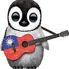 Baby Penguin Playing Taiwanese Flag Guitar von jeff bartels