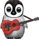 Baby-Pinguin, der albanische Flaggen-Gitarre spielt von jeff bartels