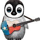 Baby-Pinguin, der Texas-Flaggen-Gitarre spielt von jeff bartels