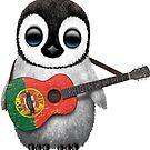 Baby Penguin Playing Portuguese Flag Guitar von jeff bartels