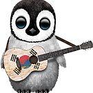 Baby Penguin Playing South Korean Flag Guitar von jeff bartels