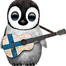 Baby-Pinguin, der finnische Flaggen-Gitarre spielt von jeff bartels