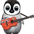 Baby Penguin Playing Bermuda Flag Guitar von jeff bartels
