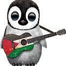 Baby-Pinguin, der palästinensische Flaggen-Gitarre spielt von jeff bartels
