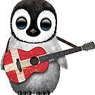 Baby Penguin Playing Danish Flag Guitar von jeff bartels