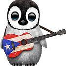 Baby-Pinguin, der Puerto Rico-Flaggen-Gitarre spielt von jeff bartels