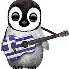Baby-Pinguin, der griechische Flaggen-Gitarre spielt von jeff bartels