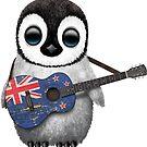 Baby-Pinguin, der Neuseeland-Flaggen-Gitarre spielt von jeff bartels