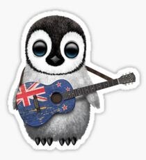 Baby Penguin Playing New Zealand Flag Guitar Sticker
