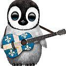 Baby Penguin Playing Quebec Flag Guitar von jeff bartels