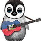 Baby-Pinguin, der haitianische Flaggen-Gitarre spielt von jeff bartels