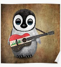 Baby Penguin Playing Iraqi Flag Guitar Poster