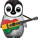 Baby Penguin Playing Ghana Flag Guitar von jeff bartels